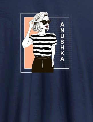 Personalised Womens T Shirt Latest Fashion Trends With Name Navy Blue Color
