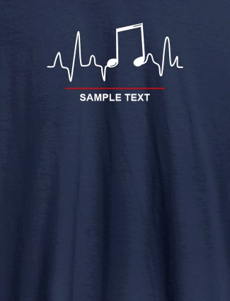 Musical Note Frequency Womens Personalised T Shirt Navy Blue Color