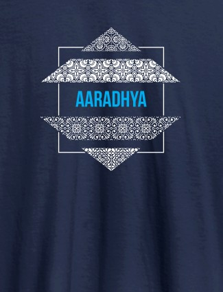 Personalised Womens Tee Shirt Traditional Design Navy Blue Color