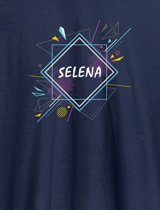 Personalised Womens Tshirt With Unique Art Navy Blue Color