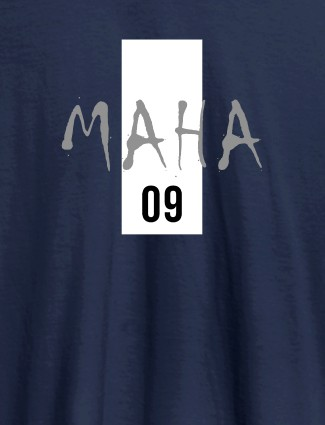 Personalised Women T Shirt With Name Number 09 Printed Navy Blue Color