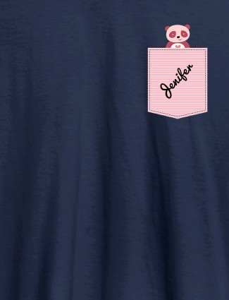 Personalised Womens T Shirt With Name Teddy Design Navy Blue Color