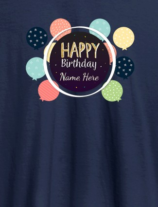 Personalised Happy Birthday Womens T Shirt With Name Navy Blue Color