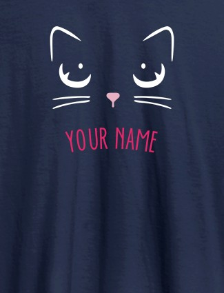 Cat Art Design Personalised Womens T Shirt With Name Navy Blue Color