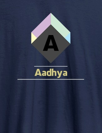Personalised Womens T Shirt With Name Cubic Design Navy Blue Color