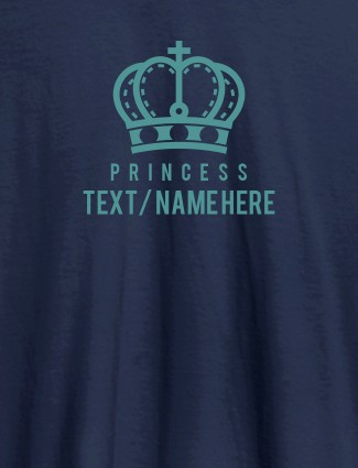 Princess with Your Name On Navy Blue Color Customized Women Tees