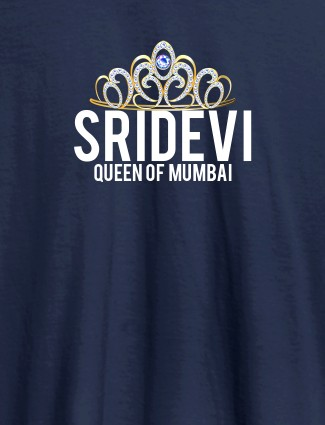 Queen of City Name and Text On Navy Blue Color Women T Shirts with Name, Text, and Photo