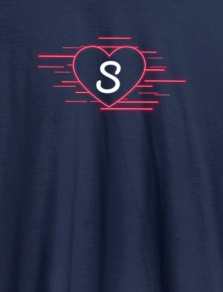 Love with Initial On Navy Blue Color Customized Women Tees