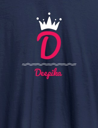 Queen with Initial and Name On Navy Blue Color T-shirts For Women with Name, Text and Photo