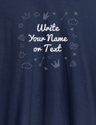 Multi Design with Your Name On Navy Blue Color Customized Womens T-Shirt