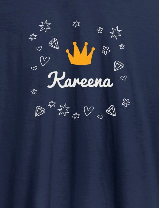 Crown Design with Your Name On Navy Blue Color Customized Tshirt for Women