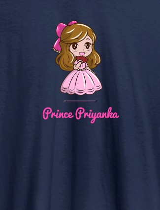Cute Princess with Your Name On Navy Blue Color Personalized Women Tees