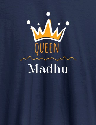 Queen Crown with Name On Navy Blue Color Women T Shirts with Name, Text, and Photo