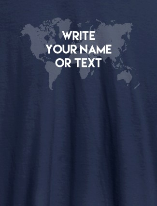 Wite Your Name On Navy Blue Color Customized Tshirt for Women
