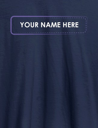 Your Name or Text On Navy Blue Color Personalized T-Shirt for Women