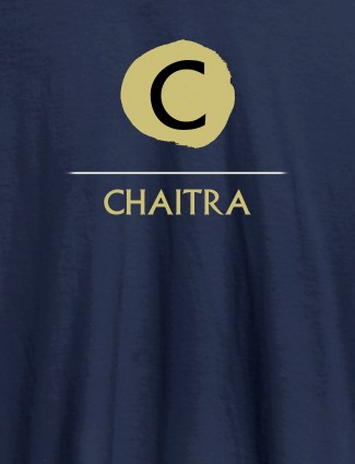 Alphabet with Name Design On Navy Blue Color Customized Women T-Shirt