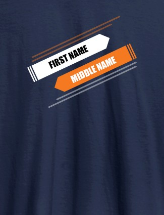 First Name and Last Name On Navy Blue Color Customized Tshirt for Women