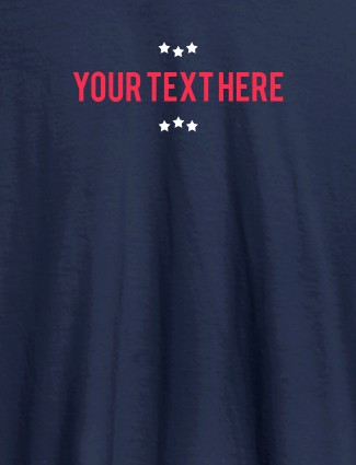 3 Stars with Your Name On Navy Blue Color Customized Tshirt for Women