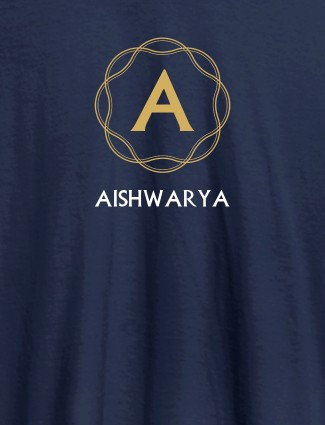Wave Design with Initial and Your Name On Navy Blue Color T-shirts For Women with Name, Text and Photo