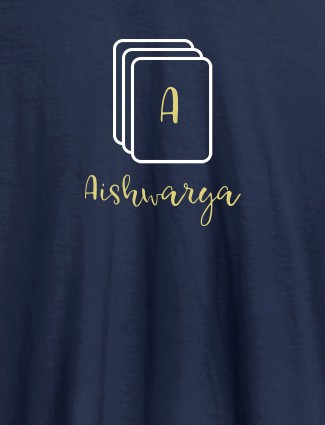 Playing Cards with Initial and Name On Navy Blue Color Personalized Women Tees