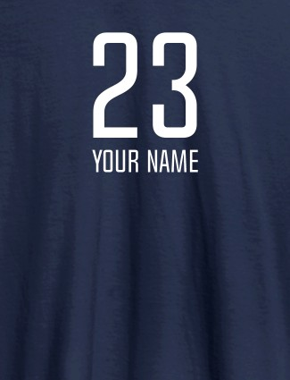 Number and Name On Navy Blue Color Personalized T-Shirt for Women
