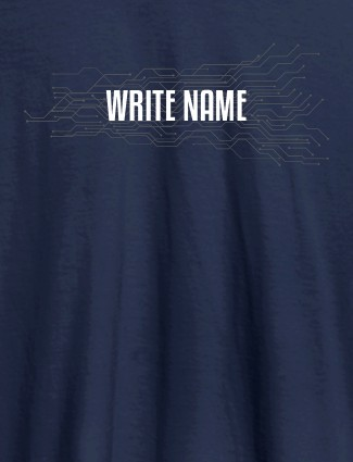 Circuit Theme with Name On Navy Blue Color Customized Women Tees