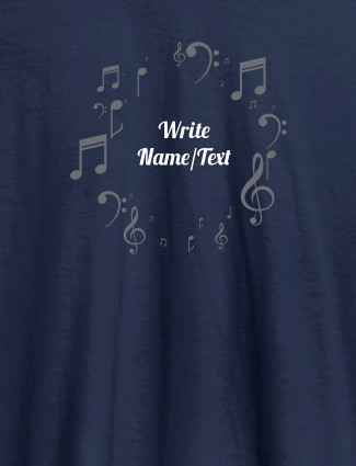 Musical Symbols with Your Name On Navy Blue Color T-shirts For Women with Name, Text and Photo