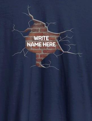Brick Theme with Your Name On Navy Blue Color Personalized Women Tshirt