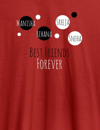 Best Friends Forever Personalised Womens T Shirt Red Color