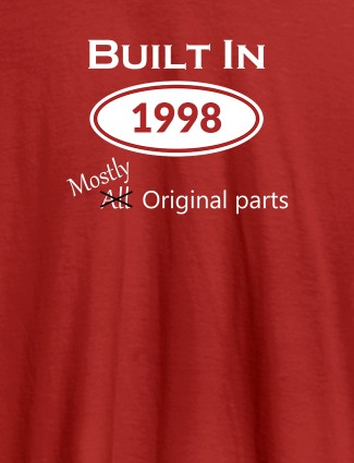 Built In Year Mostly Original Personalised Womens T Shirt Red Color