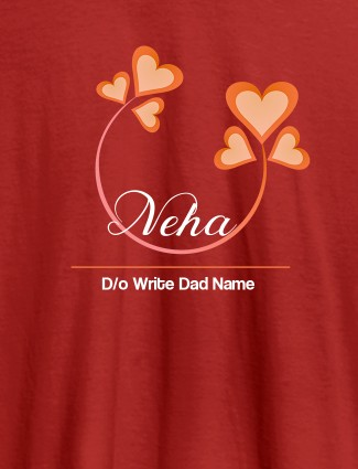 Personalised Womens T Shirt With Your Dad Name Red Color