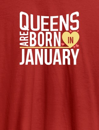 Queens Are Born In Personalised Womens T Shirt Red Color