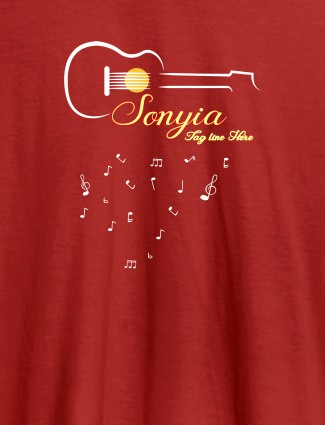 Personalised Womens T Shirt With Name Guitar Design Red Color
