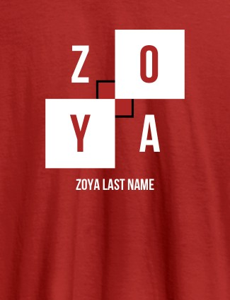 Personalised Womens T Shirt With Last Name Red Color