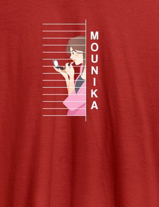 Personalised Womens T Shirt With Name Unique Design Red Color