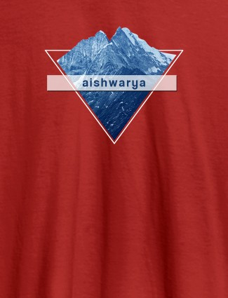 Himalaya Mountain Personalised Womens Printed T Shirt Red Color
