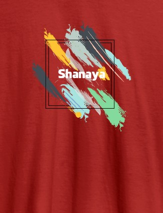 Personalised Womens T Shirt Name With Abstract Design Red Color