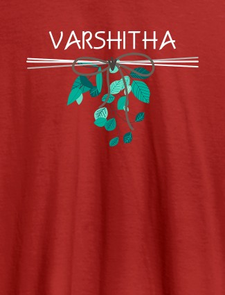 Personalised Womens T Shirt Name With Knot Design Red Color