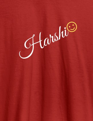Personalised Women T Shirt With Name Emoji Red Color