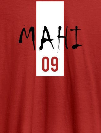 Personalised Women T Shirt With Name Number 09 Printed Red Color