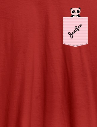 Personalised Womens T Shirt With Name Teddy Design Red Color