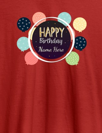 Personalised Happy Birthday Womens T Shirt With Name Red Color