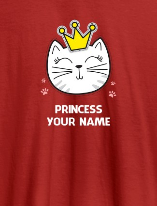 Princess Cat Personalised Womens T Shirt With Name Red Color