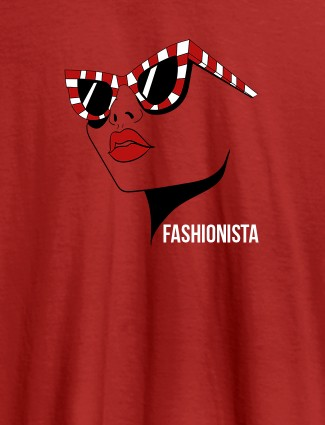 Fashionista Womens T Shirt Trendy Unique Design Red Color