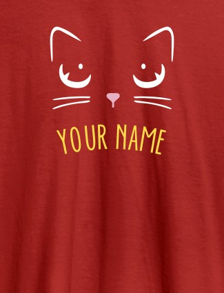 Cat Art Design Personalised Womens T Shirt With Name Red Color