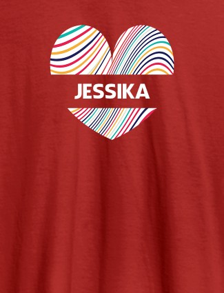 Multicolor Heart Shape Personalised Womens T Shirt With Name Red Color