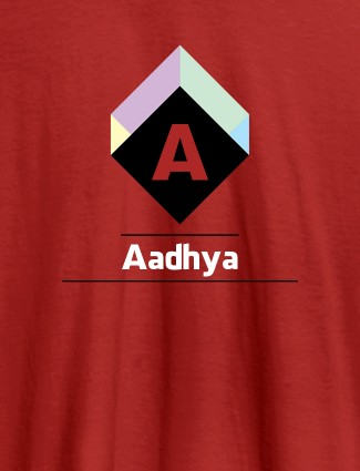 Personalised Womens T Shirt With Name Cubic Design Red Color
