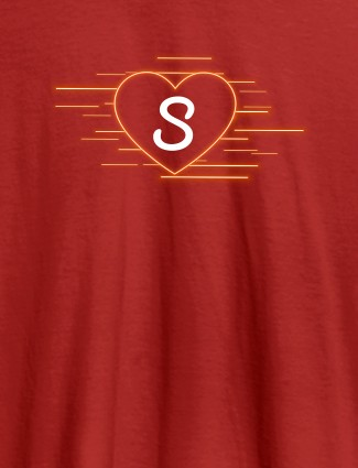 Love with Initial On Red Color Customized Women Tees