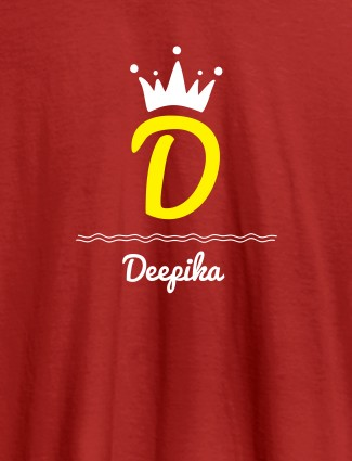 Queen with Initial and Name On Red Color T-shirts For Women with Name, Text and Photo
