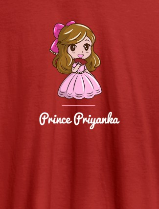 Cute Princess with Your Name On Red Color Personalized Women Tees